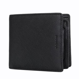 Coach NEW COACH men Saffiano leather Coin case ID Wallet Black 74771
