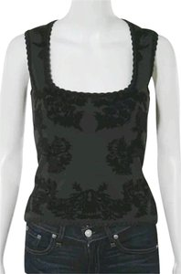 Zac Posen Floral Scoop Knit Top Black/Olive