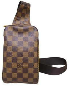 Louis Vuitton Lv Damier Geronimos Waist Canvas Wristlet in brown