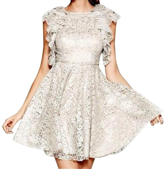 Item - Silver Cynthia Metallic Lace Ruffle Sleeve Short Formal Dress Size 12 (L)