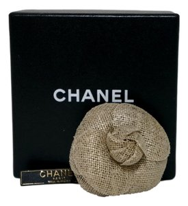 Chanel CHANEL Gold/Beige Camellia Pin Brooch NWT