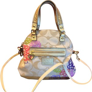 Coach Dooney Prada Willis Hobo Satchel in Tans And Accent Colors Purple Red Pink