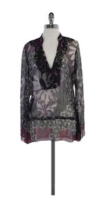Hale Bob Purple Black Beaded Top