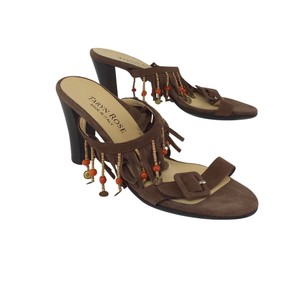 Taryn Rose Brown Suede Fringe Heels Sandals