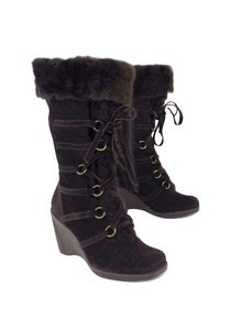 Stuart Weitzman Brown Suede Lace Up Mid Calf Boots
