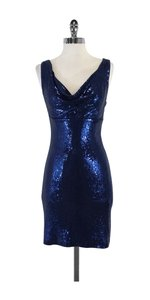 Nicole Miller short dress Blue Sequine Cowl Neck on Tradesy