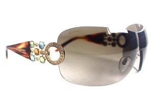 BVLGARI Shield Swarosvki Crystal Tortoise Sunglasses New 6063-B