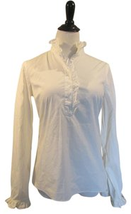 Tory Burch Lidia Ruffled Button Down Shirt White