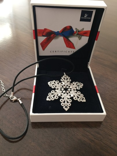 Swarovski Genuine Signed 2004 Swarovski Snowflake Necklace/Brooch with Silk Necklace