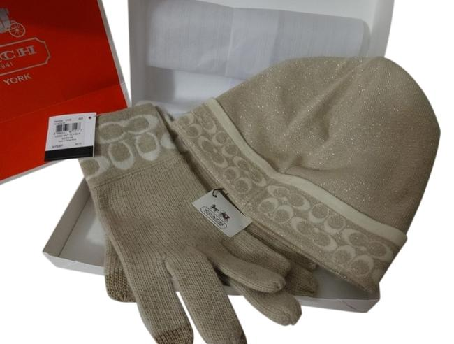 Item - Tan/Cream Lurex Wool Blend Winter & Tech Sensitive Gloves Hat