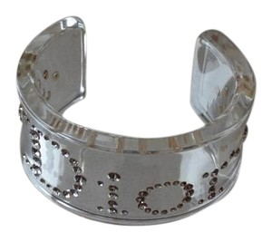 Dior Christian Dior Clear Lucite Cuff Bracelet Embellished With Rhinestones