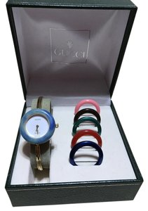 Gucci GUCCI GOLD PLATED BEZEL WATCH with 6 DIFFERENT BEZELS - PETITE