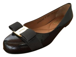 Salvatore Ferragamo Patent Leather Charcoal / Black Flats
