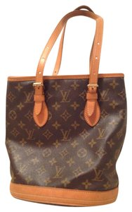 Louis Vuitton Bucket Monogram Leather Canvas Tote in Brown
