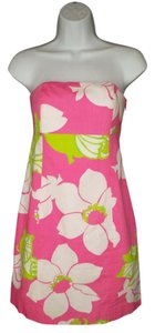 Lilly Pulitzer short dress Floral Strapless Cotton Pink Mini on Tradesy