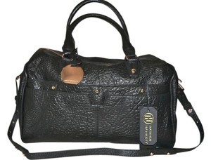 Hayden-Harnett Leather Duffel Doctor's Satchel in Black with Rose Gold Hardware