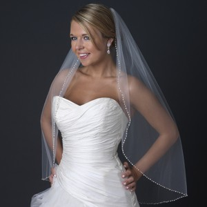 Elegance by Carbonneau Ivory Medium Single Layer Fingertip with Freshwater Pearls V 1130 1f Bridal Veil