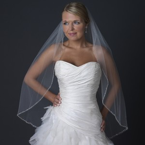Elegance By Carbonneau Pearl & Beaded Edge Fingertip Length Cut Edge Wedding Bridal Veil V-1136-1f