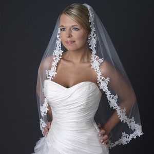 Elegance By Carbonneau Floral Lace Embroidery Edge Fingertip Length Wedding Bridal Veil V-1138-1f