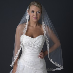 Elegance By Carbonneau Ivory Rum Accented Lace Edge Wedding Bridal Veil With Rhinestones V 1143 1f