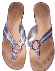 Lilly Pulitzer Palm Beach Style Silver Metallic Sandals