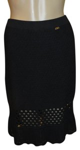 St. John Monagram Knit Skirt Black