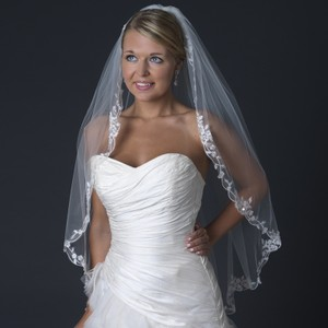 Elegance By Carbonneau Floral Embroidered Edge Wedding Bridal Veil With Beads & Sequins V 1165 1f