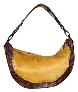 Berge Embossed Leather Croc Calf Hair Italy Shoulder Bag