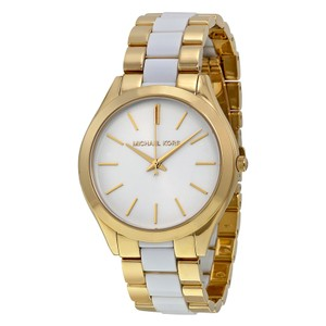 Michael Kors $225 NWT Slim Runway White Acetate and Gold-Tone Watch MK4295