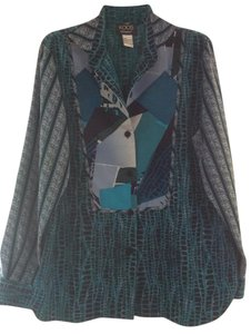 Koos Of Course Animal Print Art Top Teal