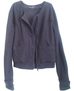 A|X Armani Exchange Cropped Bomber Tweed Asymmetric Black Jacket