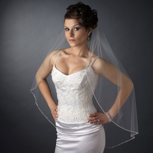 Elegance By Carbonneau Silver Sequin & Bugle Bead Fingertip Length Wedding Bridal Veil V 1040 1f