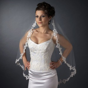 Elegance By Carbonneau Embroidered Floral Flowers Leaves With Pearls Wedding Bridal Veil V 1042 1f