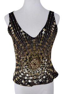 Reem Acra Evening Wear Top Black, Gold Embellishment