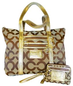 Coach Lurex Signature Poppy Tote in Gold