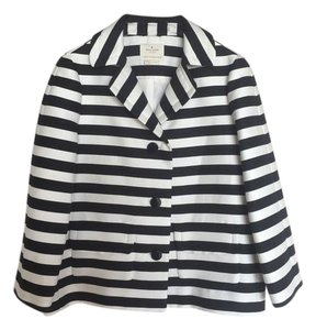 Kate Spade Boxy Black, White Striped Jacket