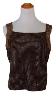 St. John Formal Embellished Metallic Top Brown, Bronze/Gold Embellishment