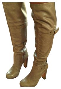 Guess #guess #guessoverkneeboots Gold Accent Taupe Tan Boots
