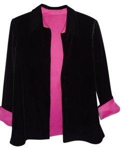 Ronni Nicole Velor Pink Lining Cuffs Top BLACK