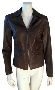 Barneys New York Olive Green Leather Jacket