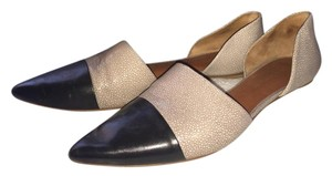 Rebecca Minkoff D'orsay Color Blocking Pointed Toe Black and Pale Grey Flats
