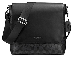 Coach Cross Body File Laptop Charles Black and grey Messenger Bag