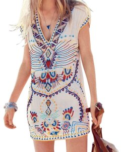 Antik Batik short dress Ivory Embroidered Shift Beaded Party Cocktail on Tradesy