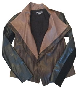 Vince Brown, taupe and navy Leather Jacket