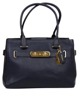 Coach Plaque Leather Tote in Navy