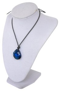 Swarovski Swarovski Blue Stone Teardrop Necklace with Leather Rope