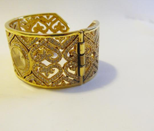 Victoria Wieck Victoria Wieck Pave Crystal Heart Hinged Cuff Bracelet Watch Size 7
