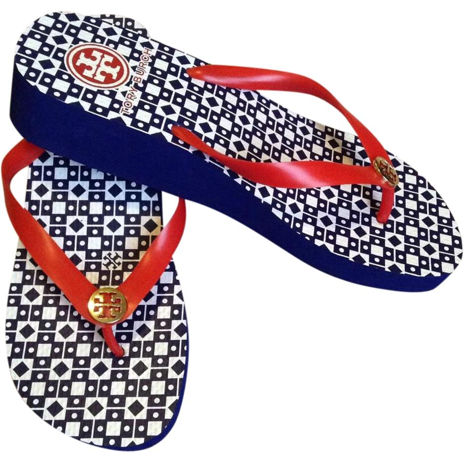 15ece2663 Tory Burch Red Thandie Flip Flop Wedge Sandals Size US 10 Regular (M ...