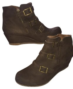 Eric Michael Torino Leather Suede Wedge Brown Boots