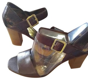 Enzo Angiolini Leather Stacked Heel Banded Brown Sandals
